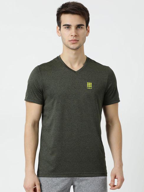 Rockit Olive V Neck Regular Fit T-Shirt