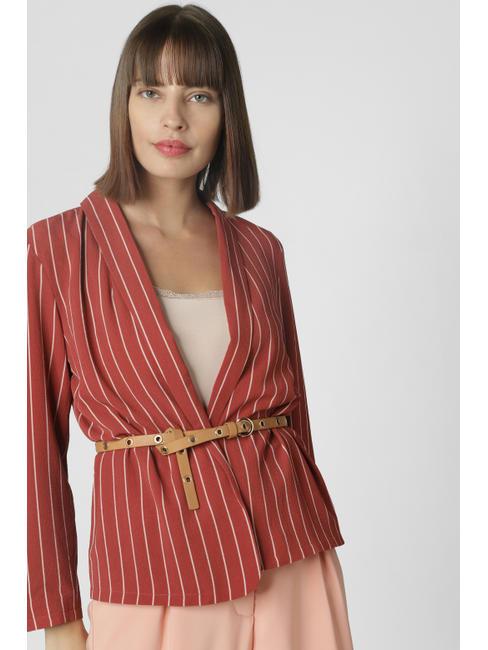 Brick Red Striped Blazer