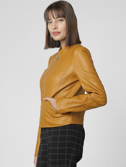 Mustard Faux Leather Short Jacket