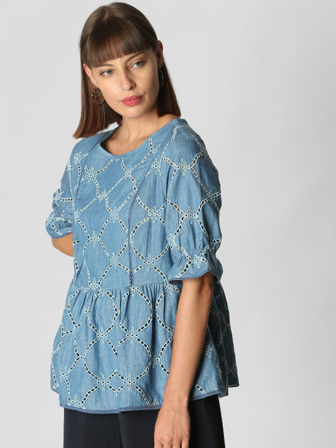 Blue Cut Work Embroidery Top