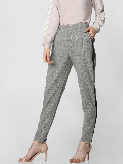 Grey Plaid Tape Detail Pants
