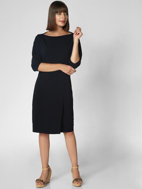 Dark Blue Boatneck Sheath Dress