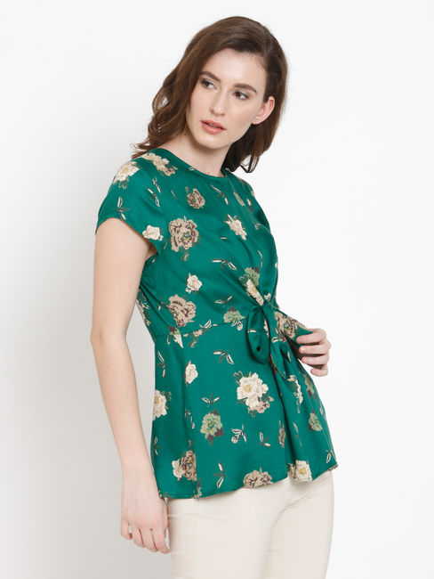 Green Floral Print Front Knot Top