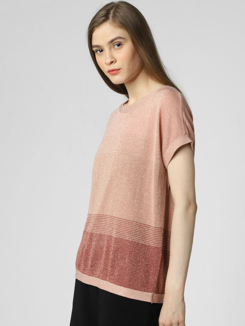Pink Striped Shimmery Top