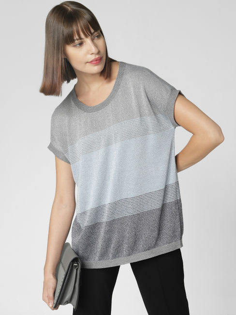 Grey Striped Shimmer Top