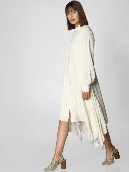 Off White Asymmetric Shirt Dress