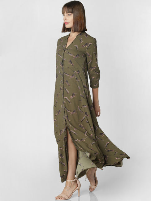 Olive Green All Over Print Shirt Dress