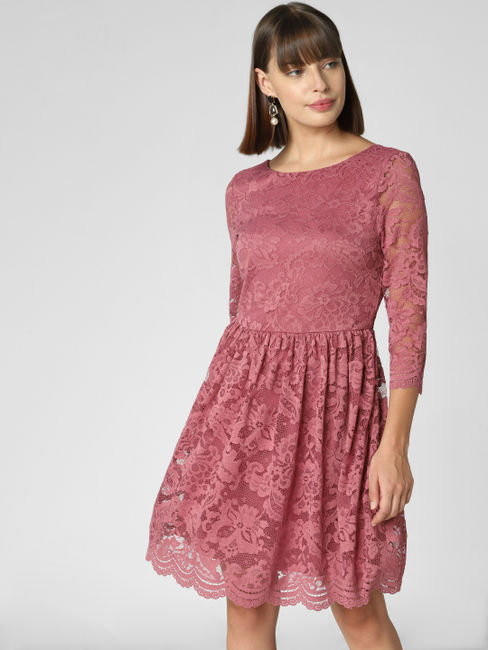 Buy Women Dark Pink Lace Fit Flare Dress Online Veromoda