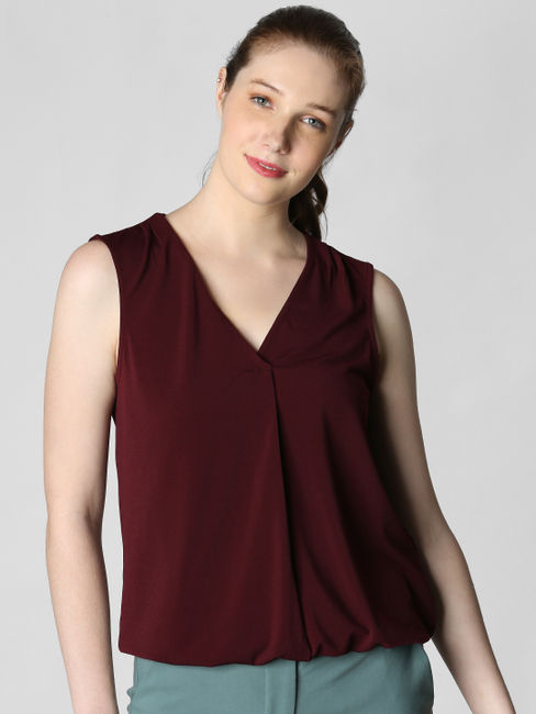 Burgundy V Neck Top