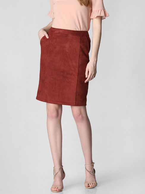 Dark Brown Mid Rise Suede Skirt
