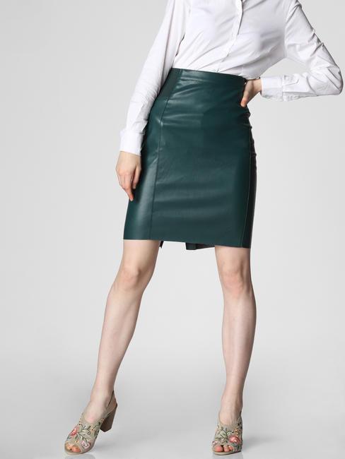 Dark Green Mid Rise Pencil Skirt