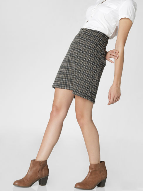 Black Front Zip Check Mini Skirt