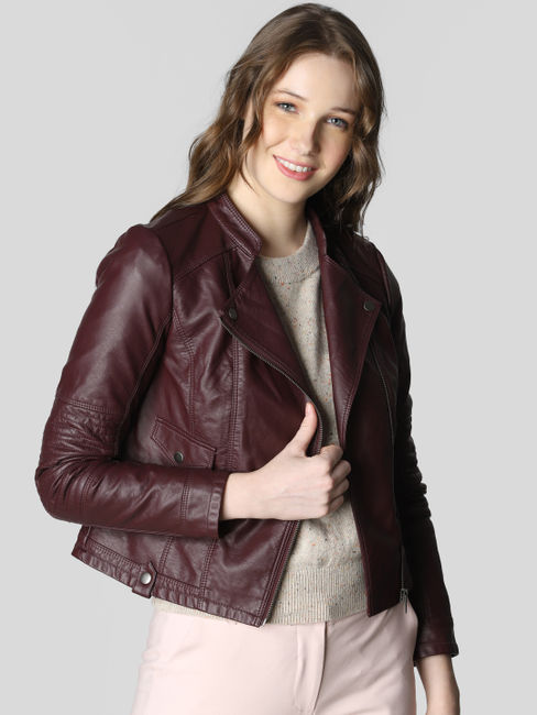 Burgundy PU Casual Jacket