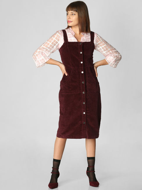 Burgundy Corduroy Pinafore Dress