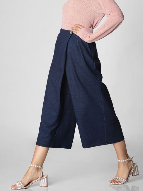 Blue High Rise Overlap Culottes