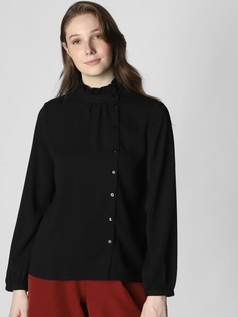 Black High Neck Shirt