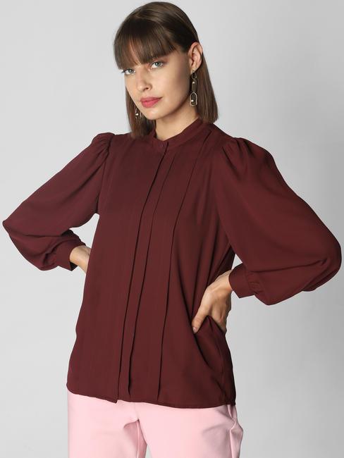 Burgundy Pleated Shirt