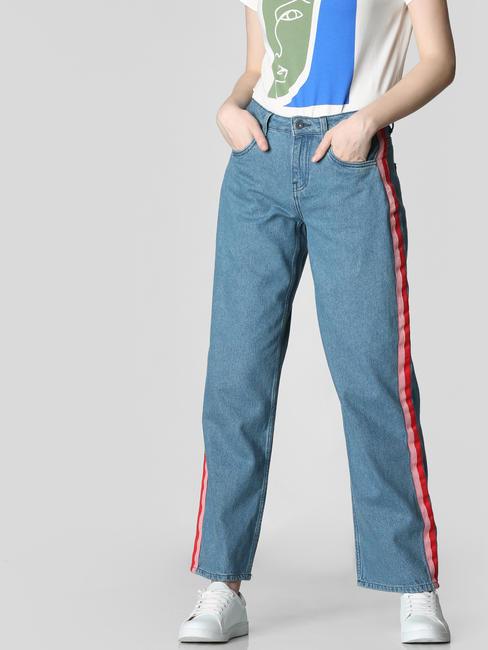 Blue Mid Rise Tape Detail Wide Leg Jeans