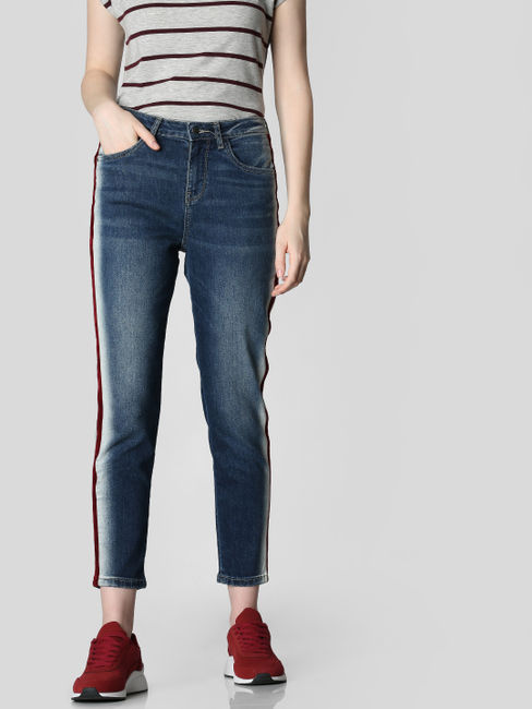 Blue Mid Rise Tape Detail Girlfriend Jeans