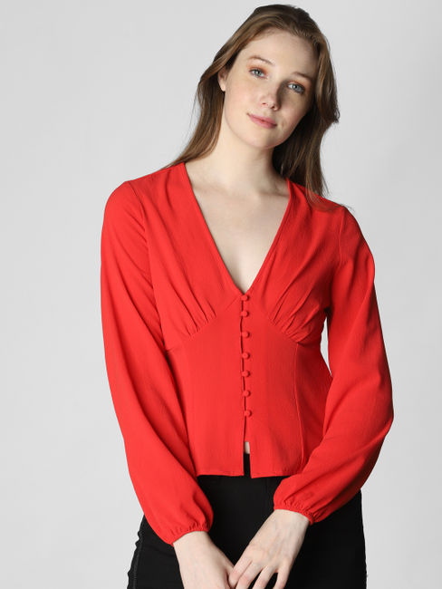 Red V Neck Top