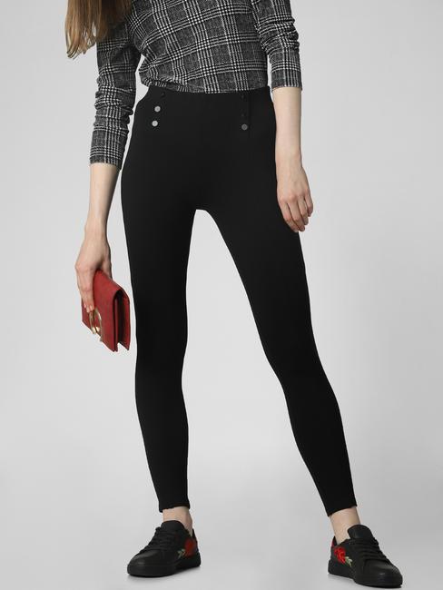 Black High Rise Button Detail Leggings