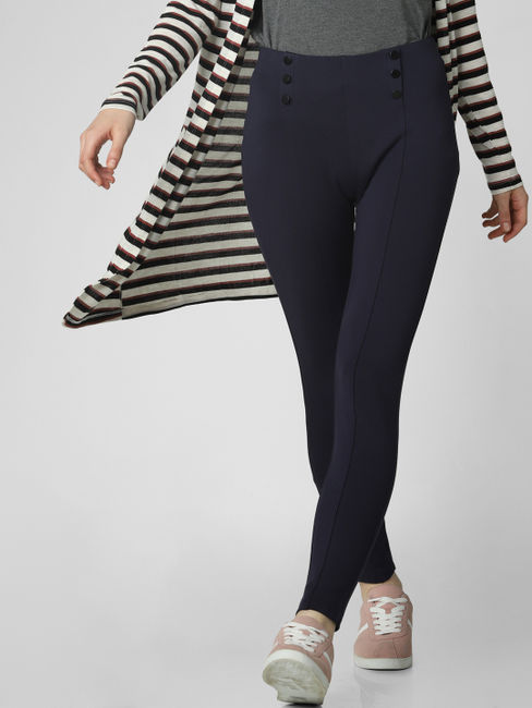 Navy Blue High Rise Button Detail Leggings