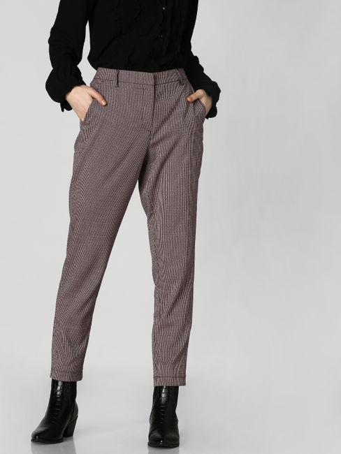 Dark Pink Check Tapered Fit Trousers