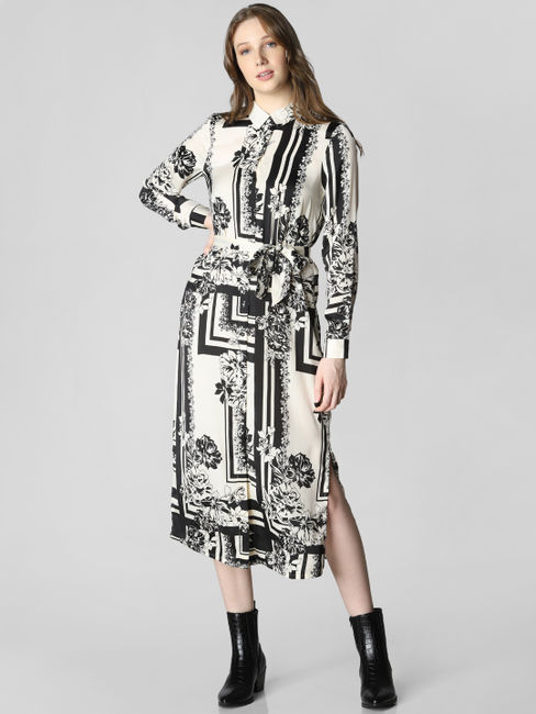 White Monochrome Print Shirt Dress