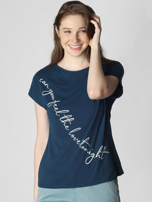 X Lion King Teal Blue Text Print T-Shirt