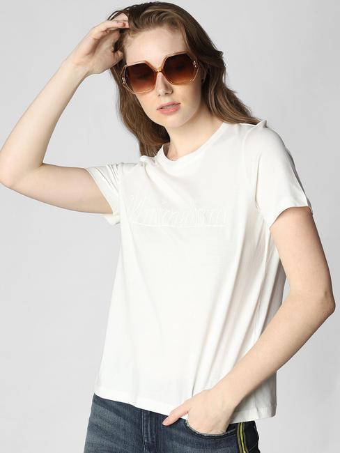White Minimalism Text Print T-Shirt