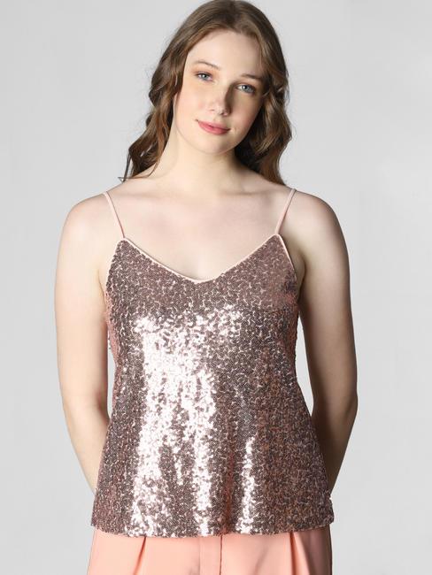 Pink Sequin Embellished Singlet