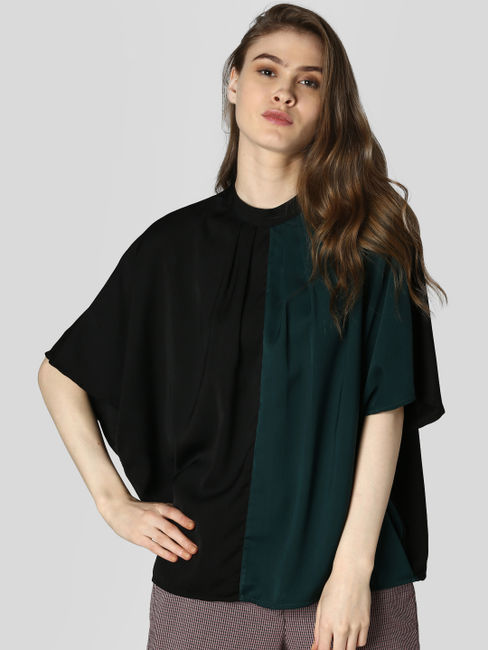 Dark Green Colourblocked Top