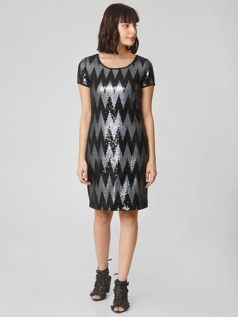 Black Sequin Shift Dress