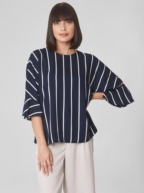 Dark Blue Striped Flared Sleeves Top