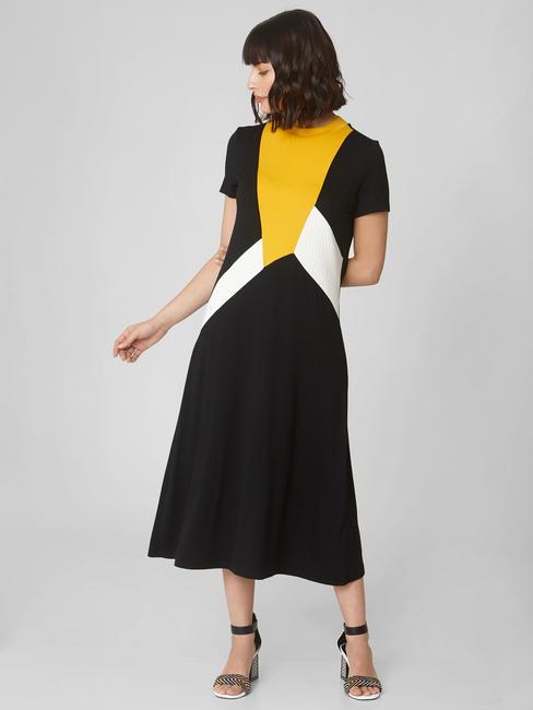 Black Colourblocked Midi Dress