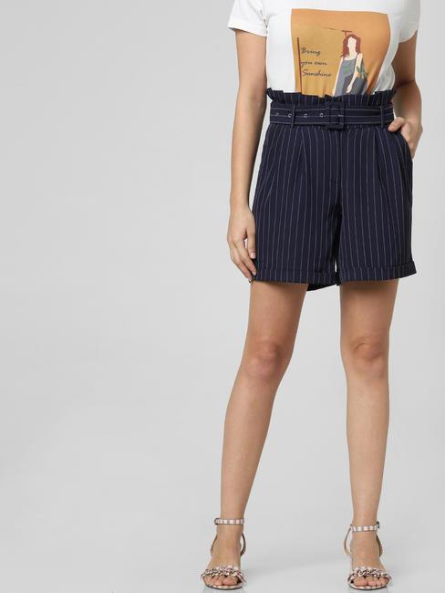 Dark Blue Striped Paperbag Waist Shorts