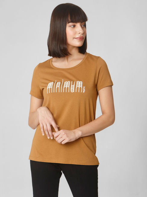 Brown Text Print T-Shirt