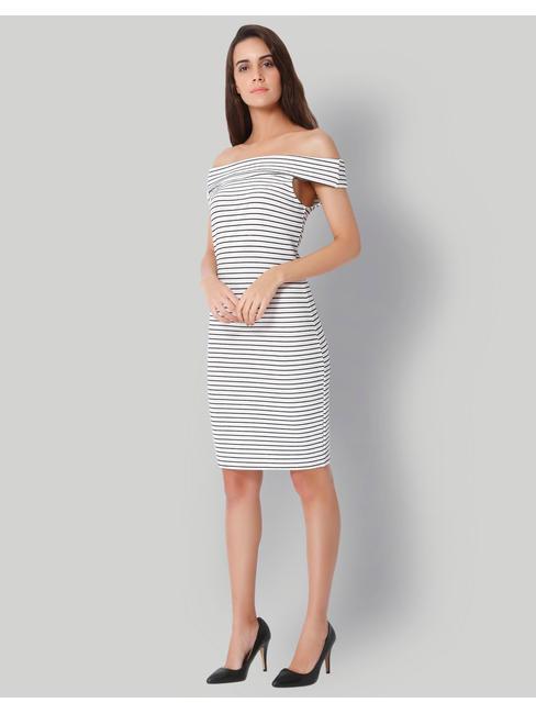 White Striped Off Shoulder Dress