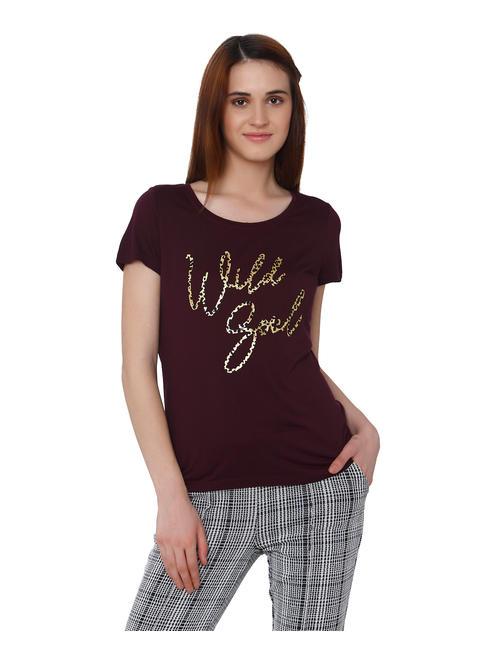 Burgundy Wild Girl Print T-Shirt
