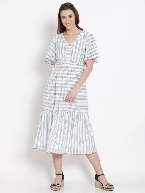 White Striped Flared Midi Dress