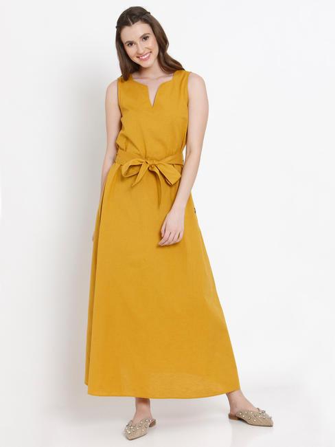 Mustard Tie Up Belt Maxi Dress