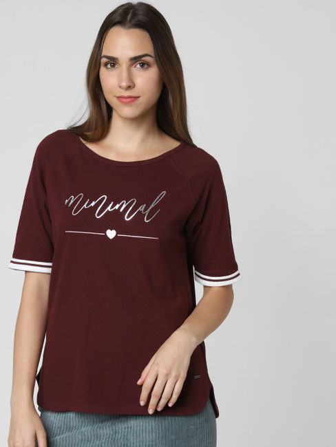 Burgundy Minimal Print T-Shirt