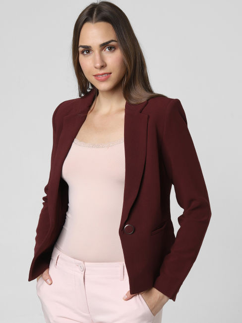 Burgundy Single Button Formal Blazer