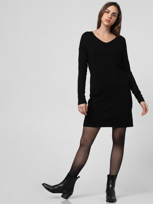 Black V Back Shift Dress