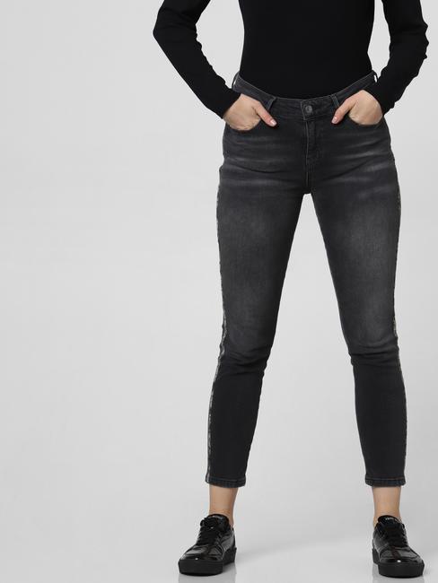 Dark Grey Mid Rise Tape Detail Skinny Jeans
