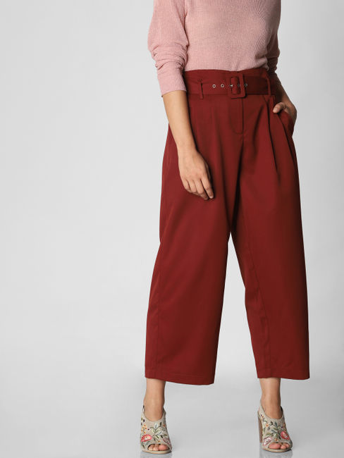 Red High Waist Belted Culottes