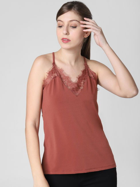 Brown Lace Singlet