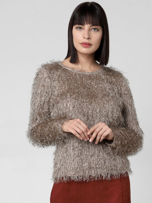 Light Brown Fuzzy Fringe Pullover