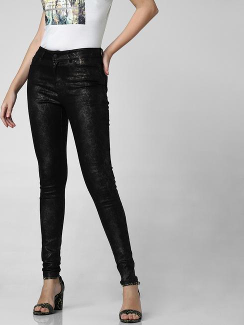 Black Mid Rise Snakeskin Print Slim Pants