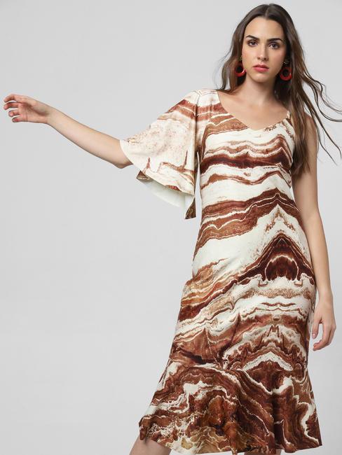 Brown Abstract Print Ruffle Midi Dress